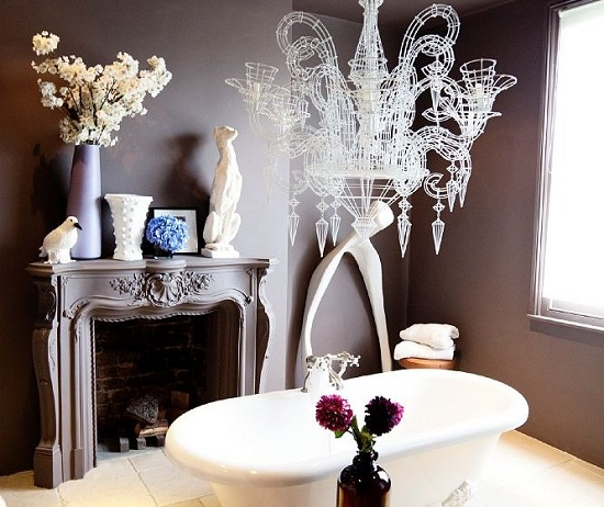 Bathroom with fireplace 5