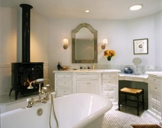 Bathroom with fireplace 8